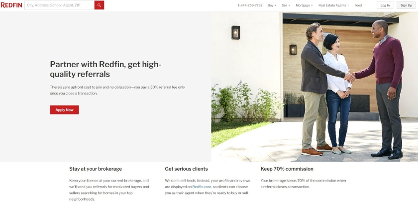 Redfin homepage