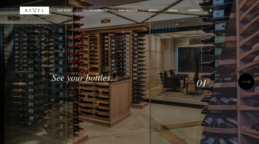 Screenshot of Revel Cellars website