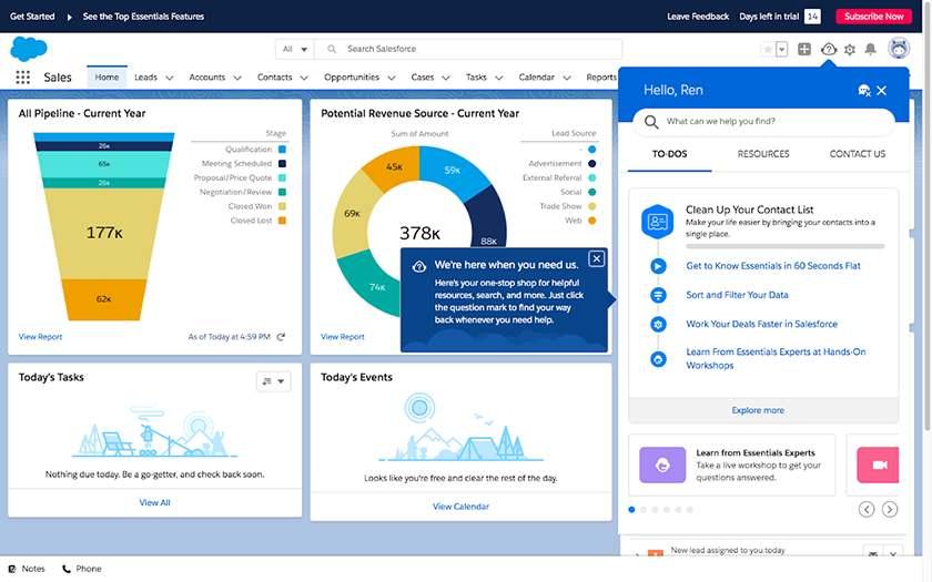 Screenshot of Salesforce Essentials dashboard