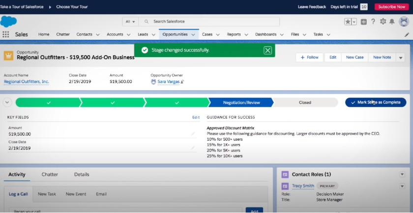 Salesforce Essentials opportunities tab