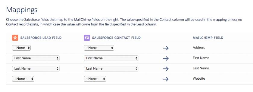 Salesforce Mailchimp field mappings