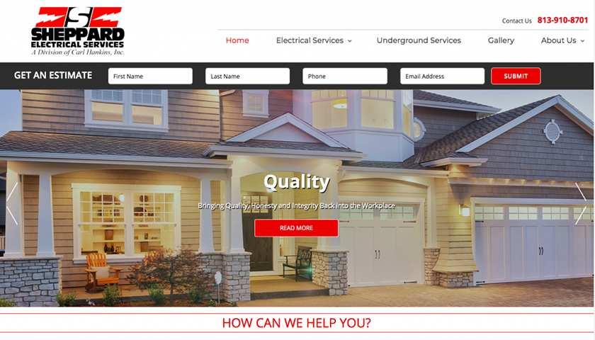 Screenshot of Sheppard Electrical Services website