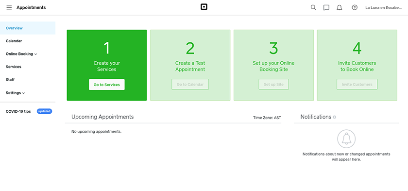 Screenshot of Square Appointments Dashboard
