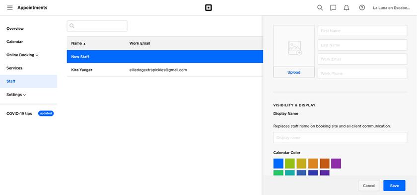 Screenshot of Square add new staff