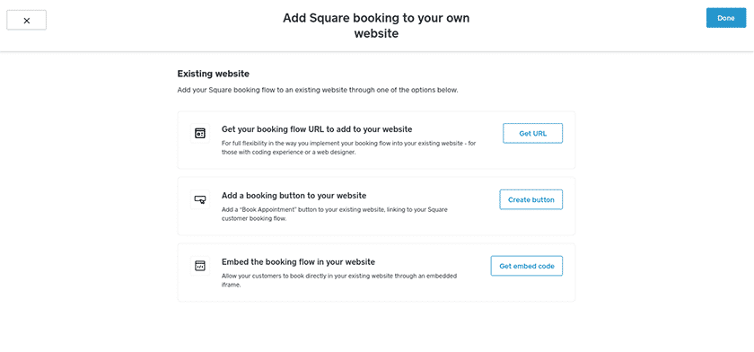 Screenshot of Square appointment add booking button