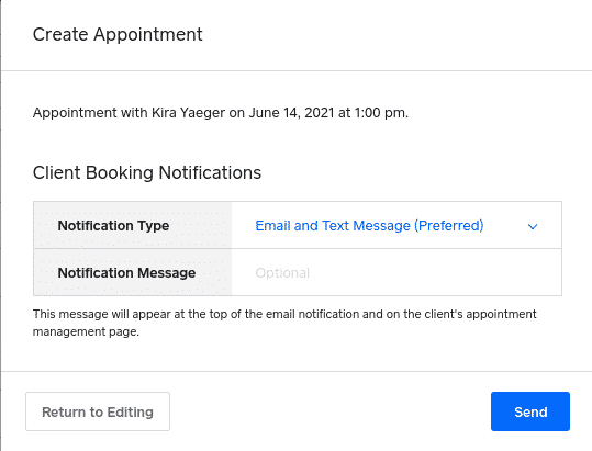 Screenshot of Square appointment create appointment
