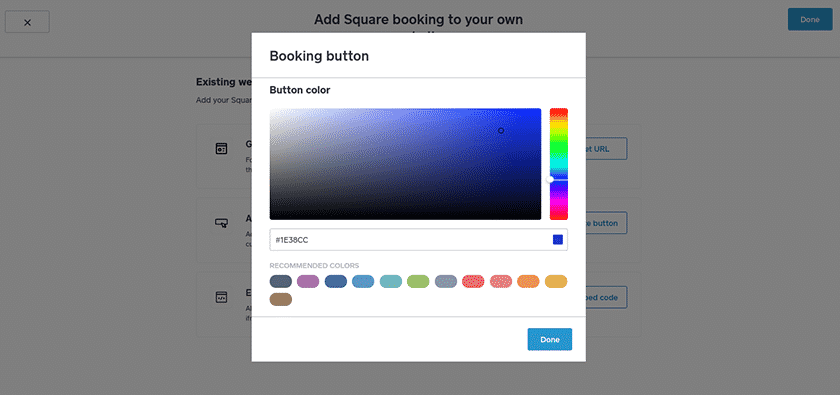 Screenshot of Square appointment customize color of booking button