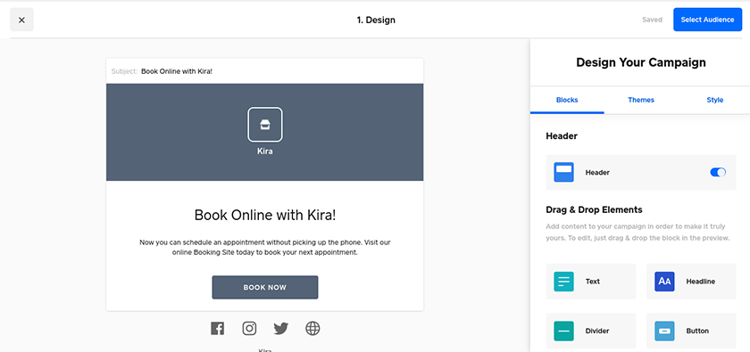 Screenshot of Square customizable template
