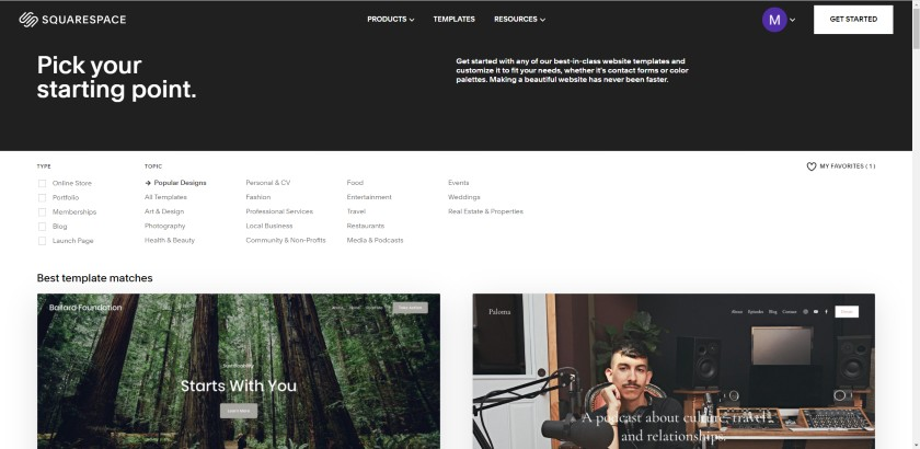 Squarespace starting point