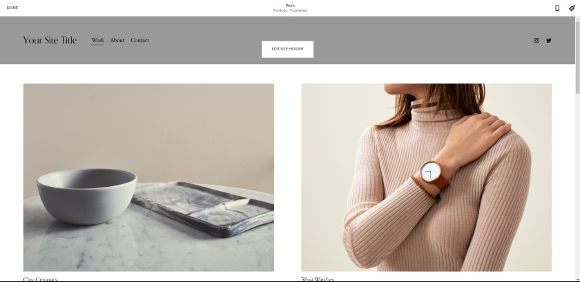 Squarespace templates and Editor