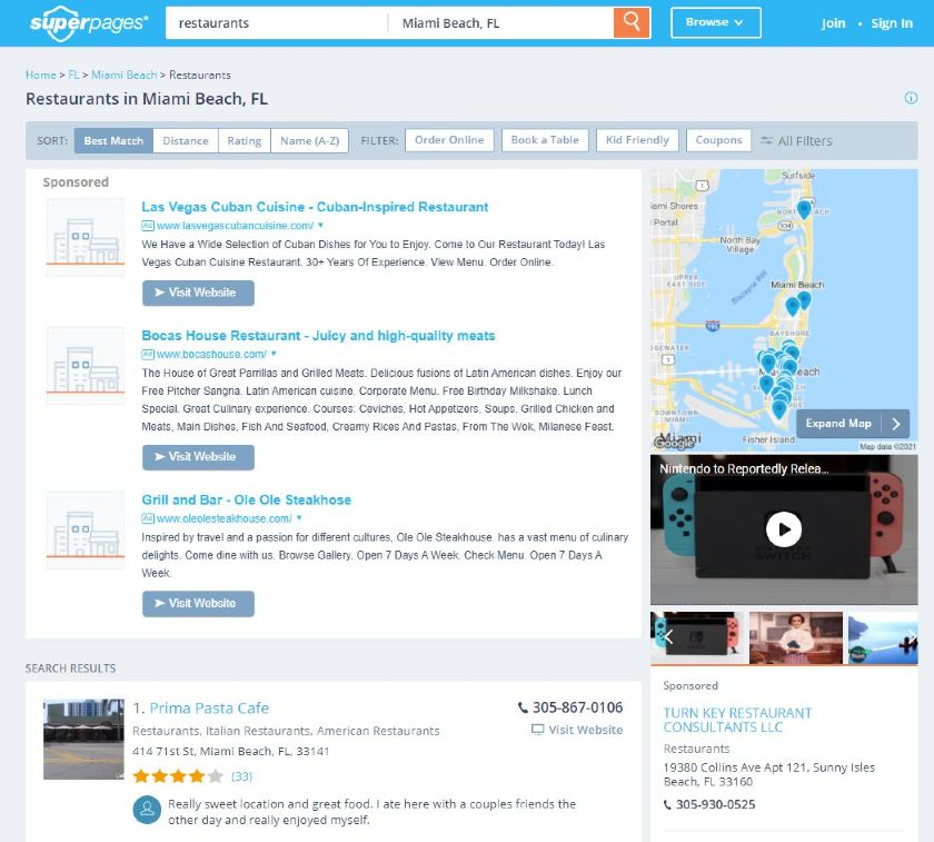 SuperPages Search Results on Restaurants found in Miami beach FL