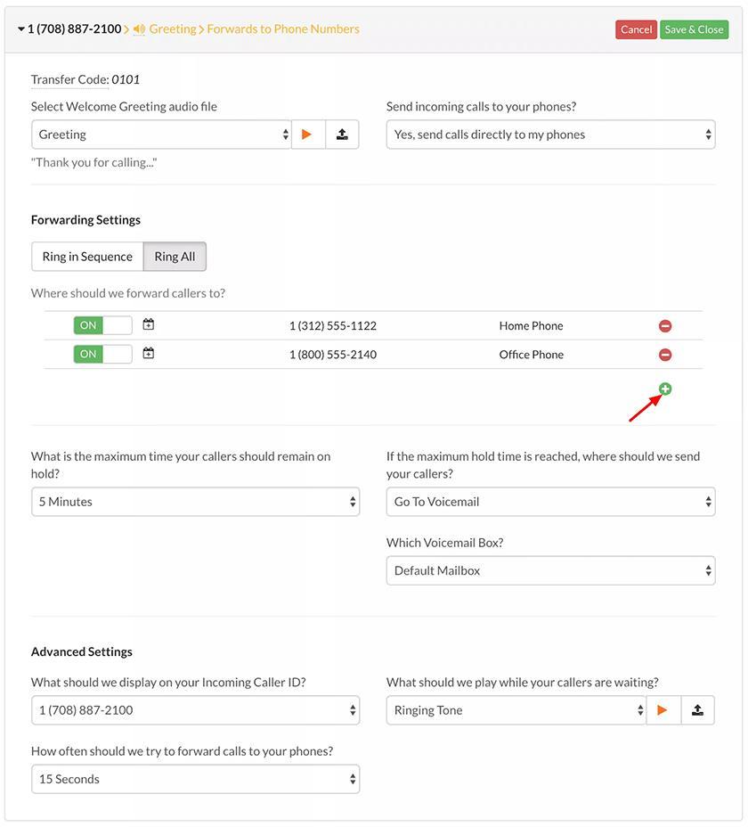 Screenshot of Talkroute call forwarding settings