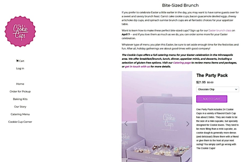 The Cookie Cups Blog small business website