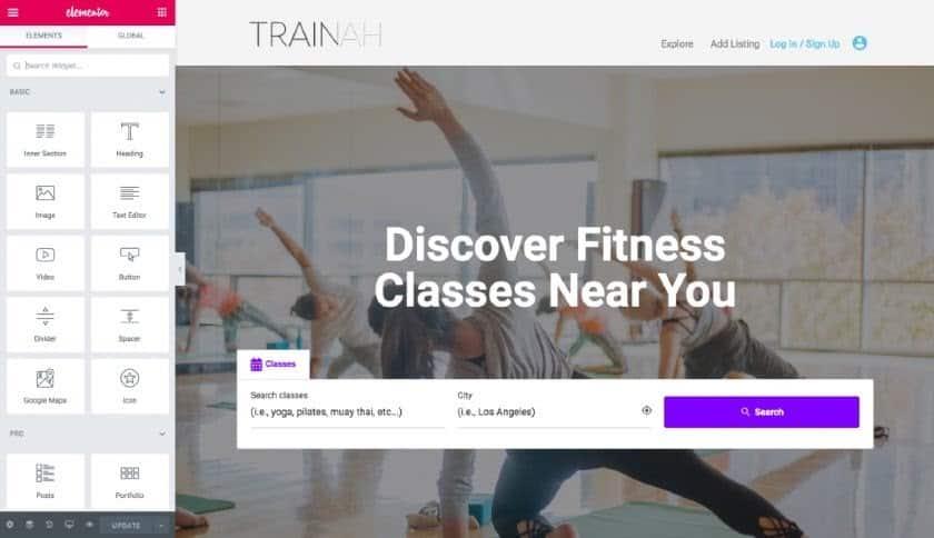 Screenshot of Trainah WordPress website