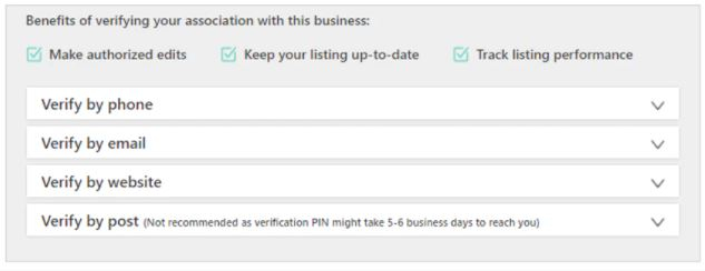Verifying your association in Bing Places