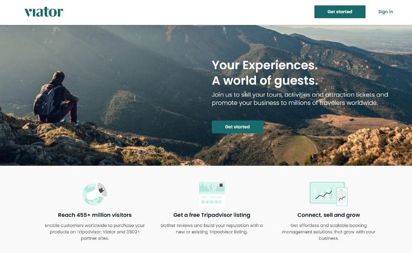 Viator homepage