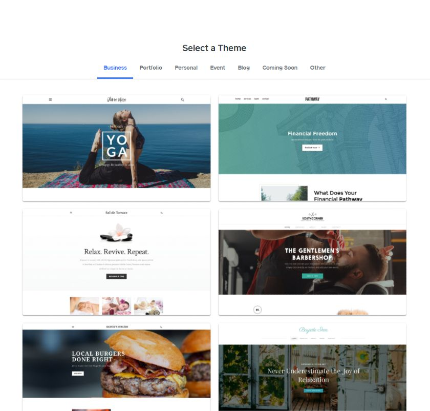 Weebly theme options