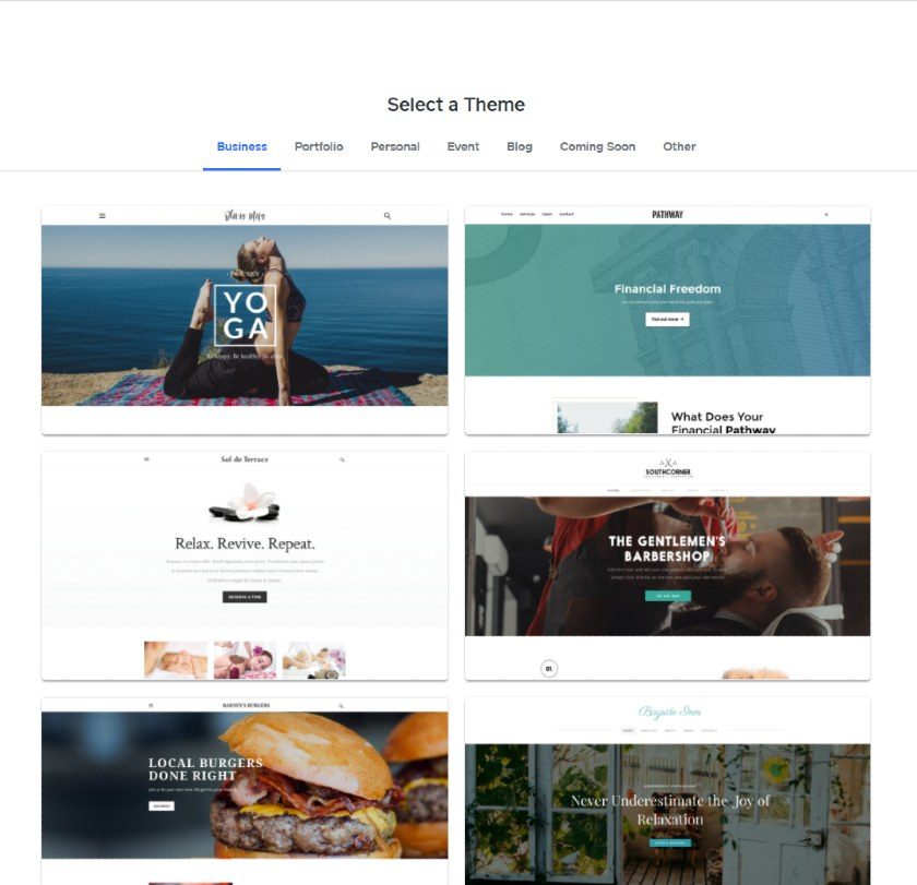 Weebly themes selection