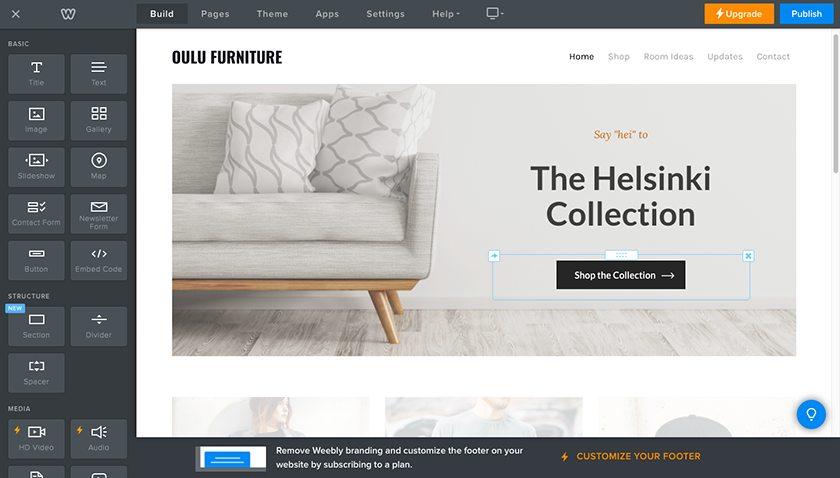 Screenshot of Weebly website builder