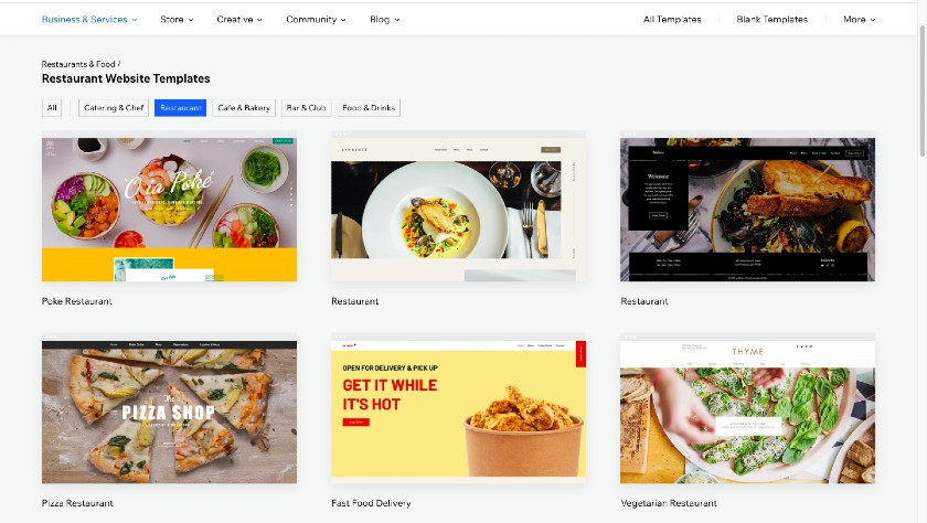 Wix Restaurant templates