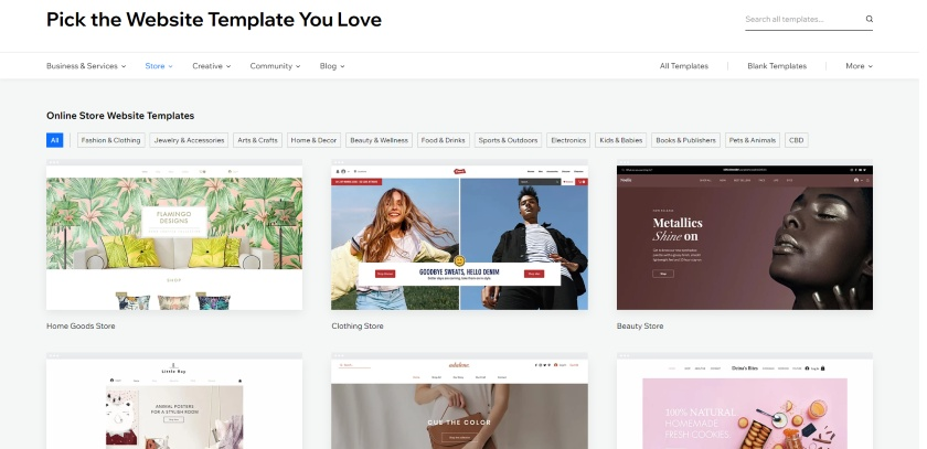 Wix templates selection
