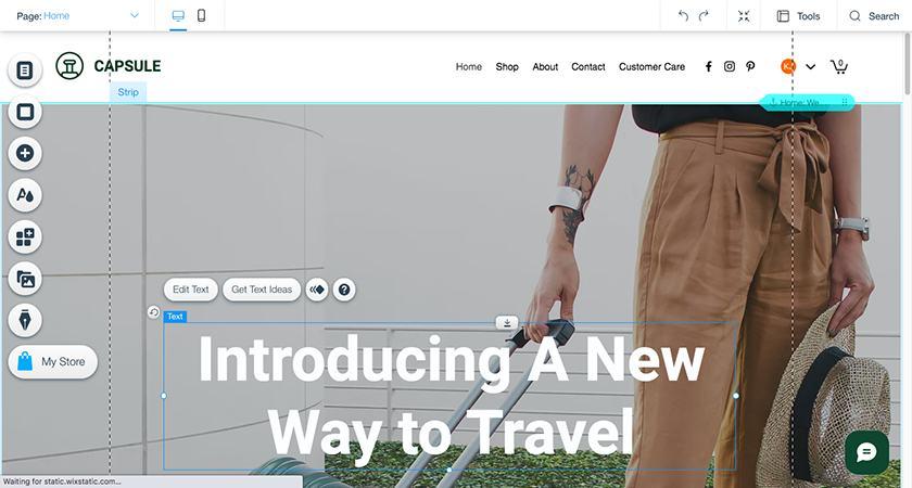 Screenshot of Wix website builder