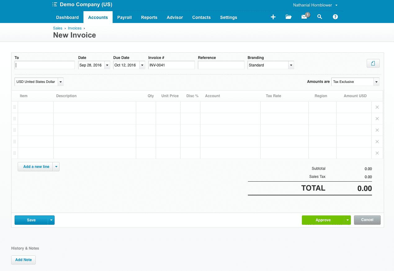 Xero Invoice Window