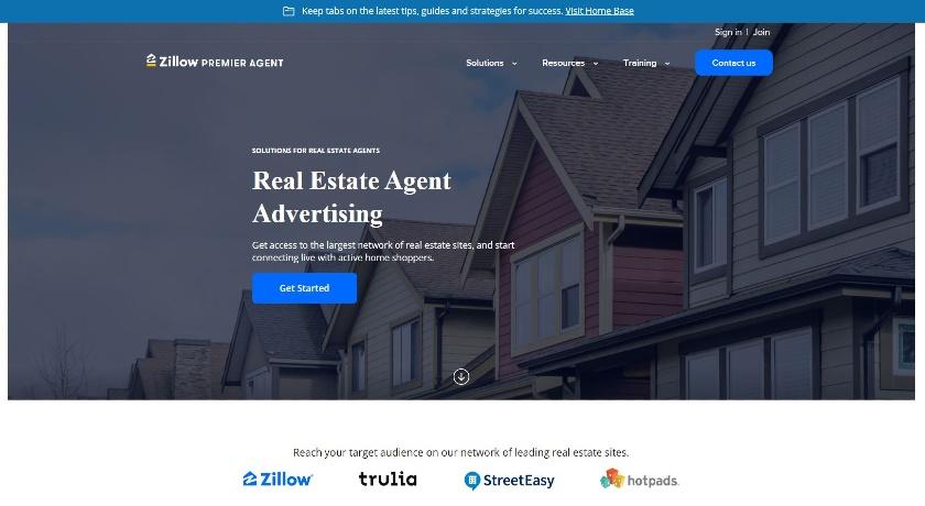 Zillow Premier Agent homepage