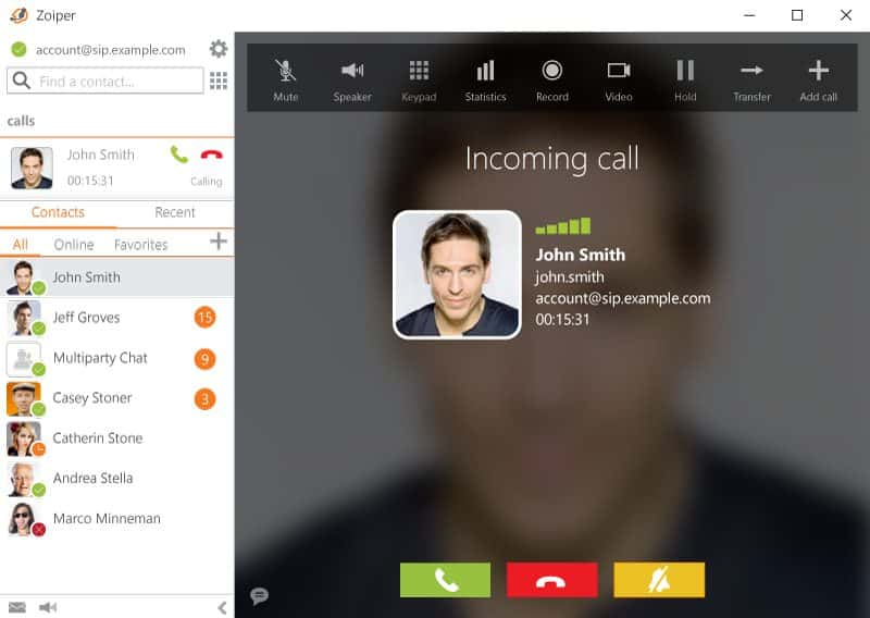 Screenshot of ZoiPer call sample