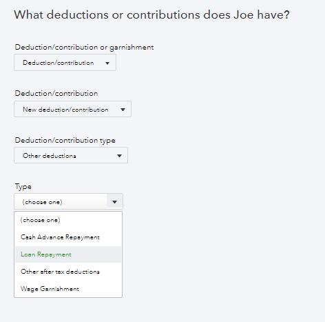 dropdown of employee deductions