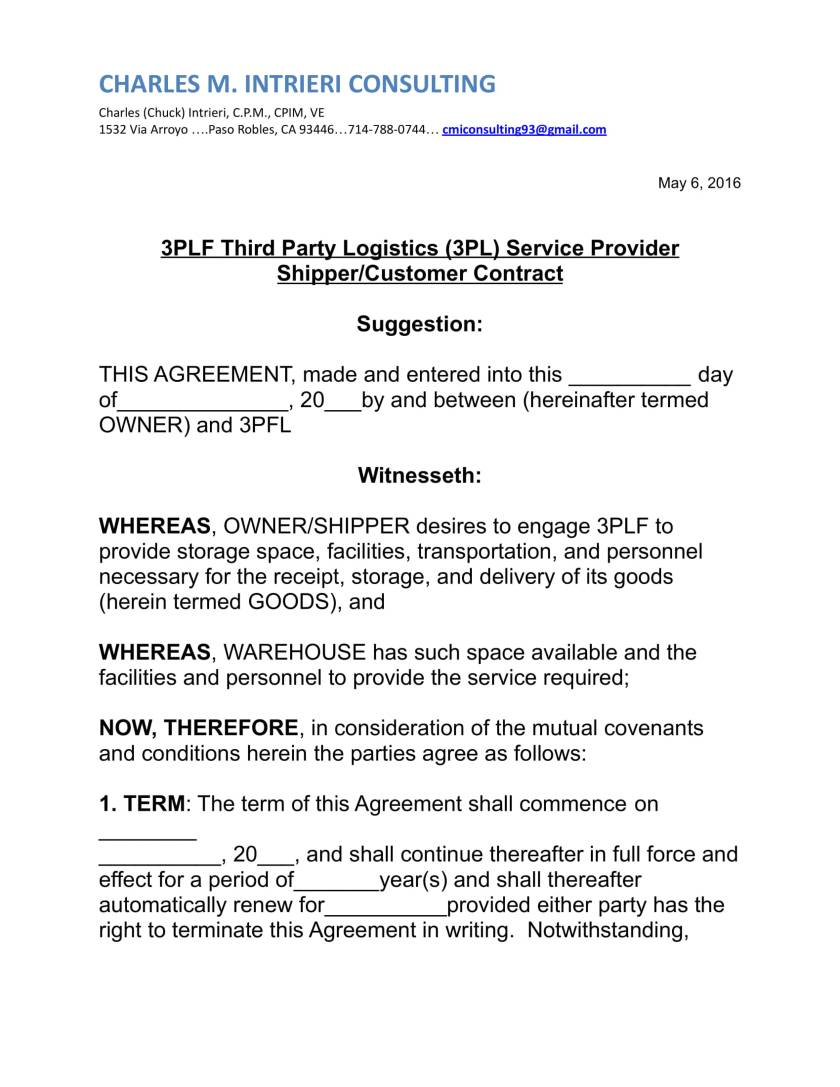 Screenshot of 3PFL Third Party Logistics Contract