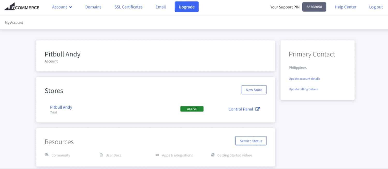 Screenshot of Account Dashboard on BigCommerce
