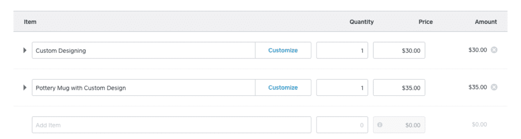 Screenshot of Adding Items to the Invoice
