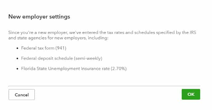 Screenshot of Adding New Employer Settings on QuickBooks