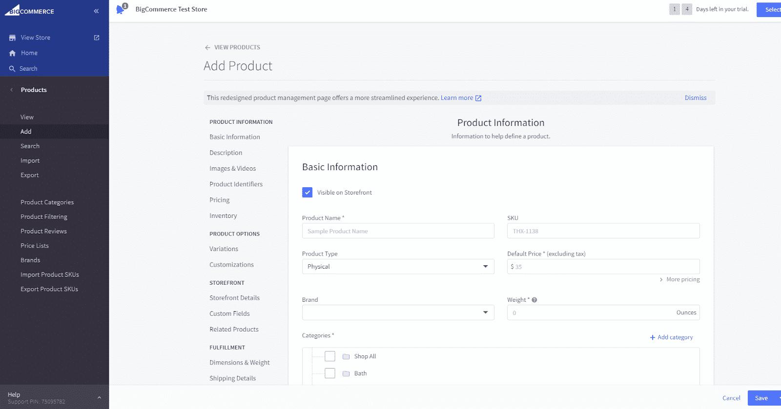Screenshot of Adding Products on BigCommerce