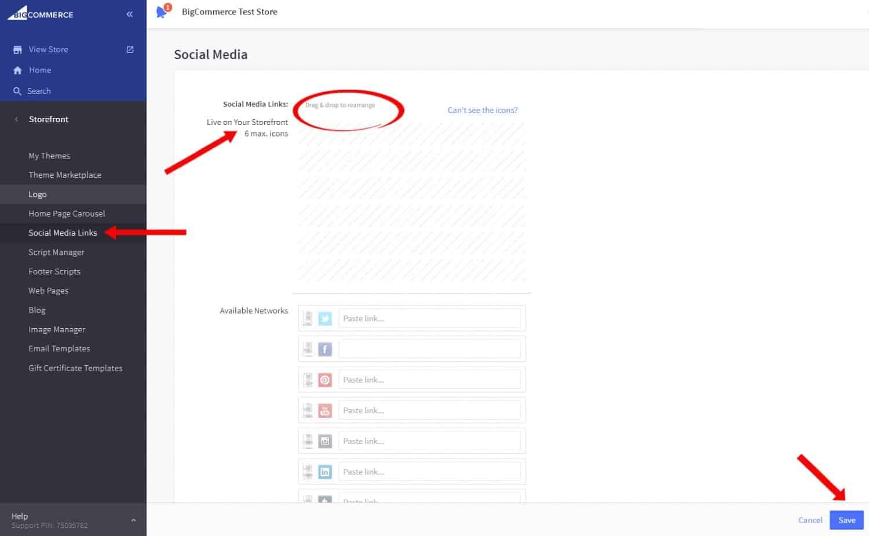 Screenshot of Adding Social Media Links on BigCommerce