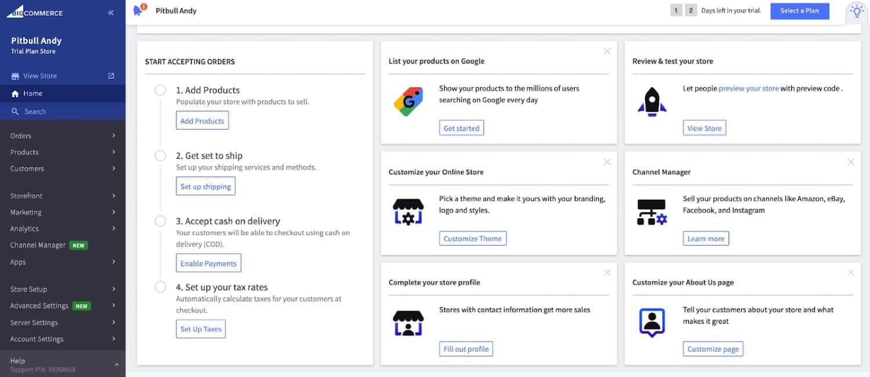 Screenshot of BigCommerce Dashboard Online Setup