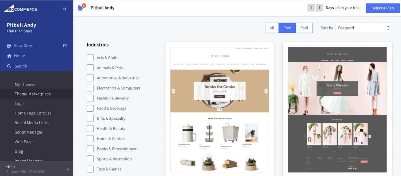 Screenshot of BigCommerce Industries Options