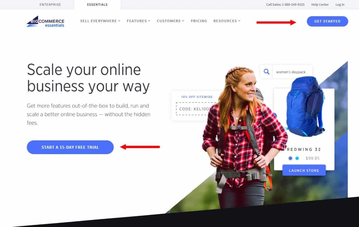 Screenshot of BigCommerce Offering a Free Trial