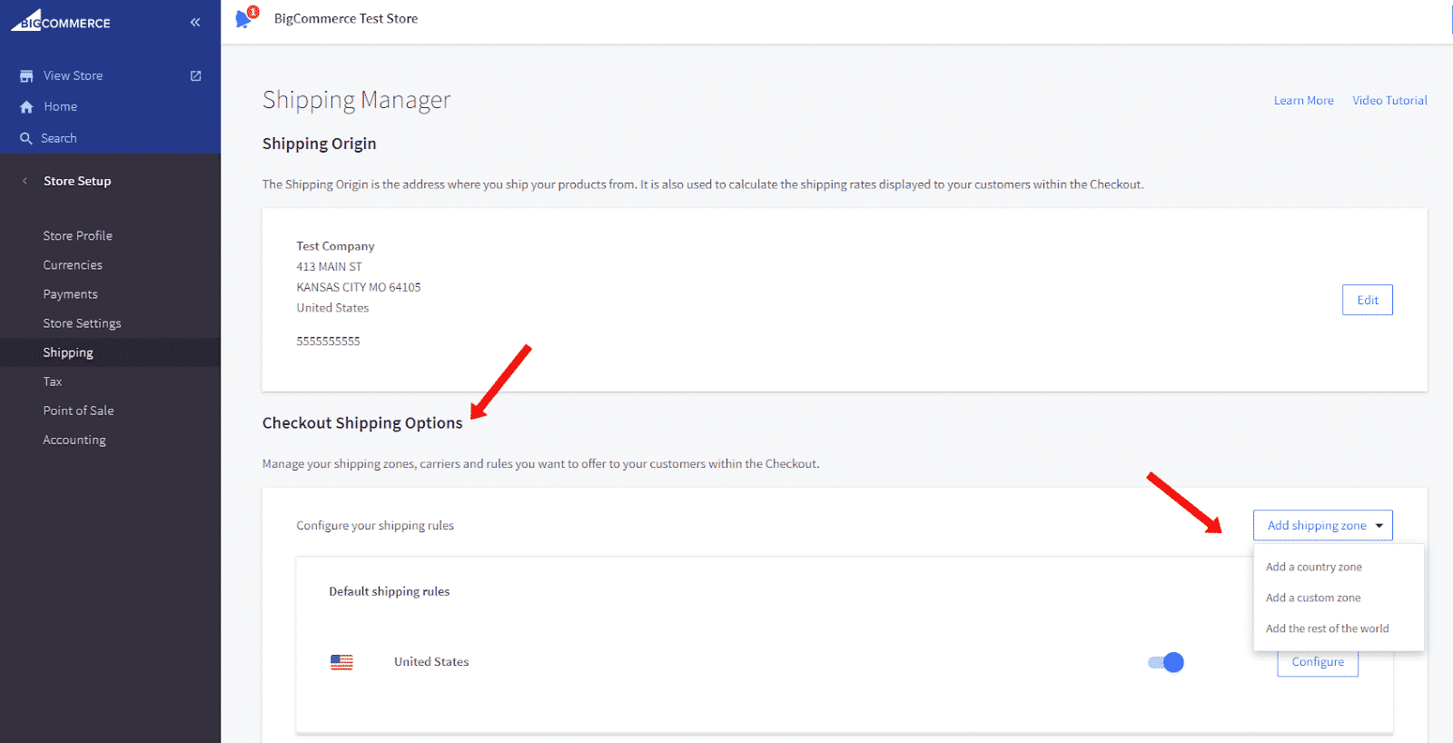 Screenshot of BigCommerce Shipping Manager