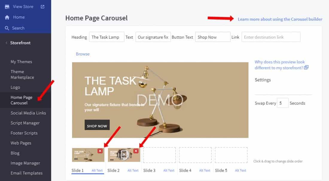 Screenshot of Carousel Demo on BigCommerce