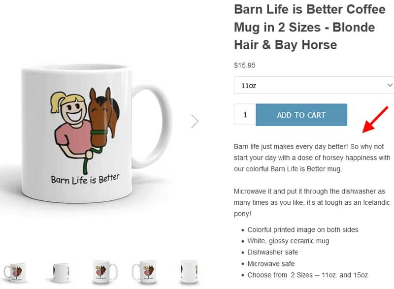 Screenshot of Ceramic Mug Listing Relates to and Draws the Customer In