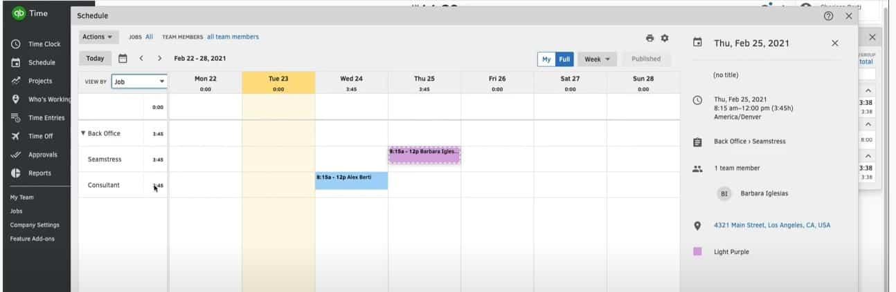 Screenshot of Color Coding Schedule
