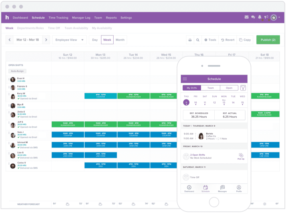Screenshot of Creating and Publishing Schedules on Homebase