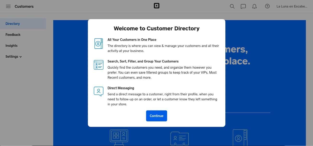 Screenshot of Customer Directory