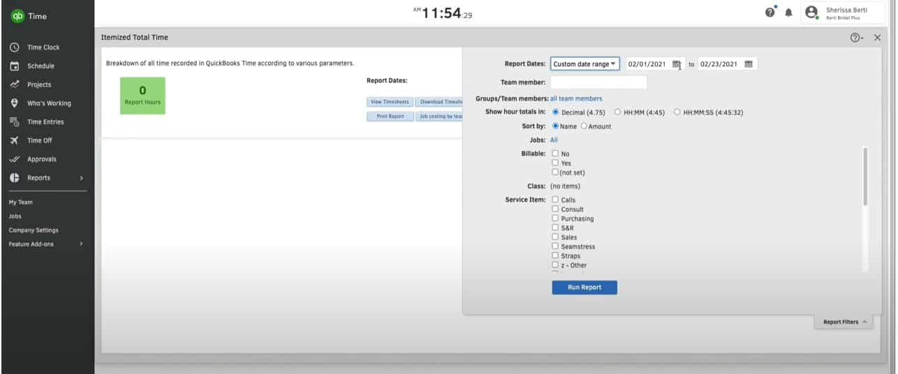 Screenshot of Customizing Reports by Changing Parameters
