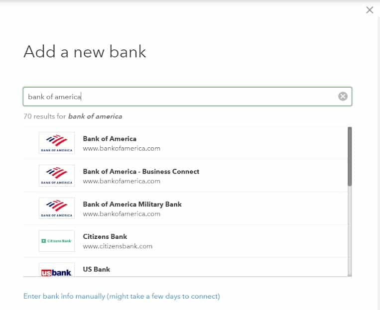 Screenshot of Different Banking Institutions List on QuickBooks