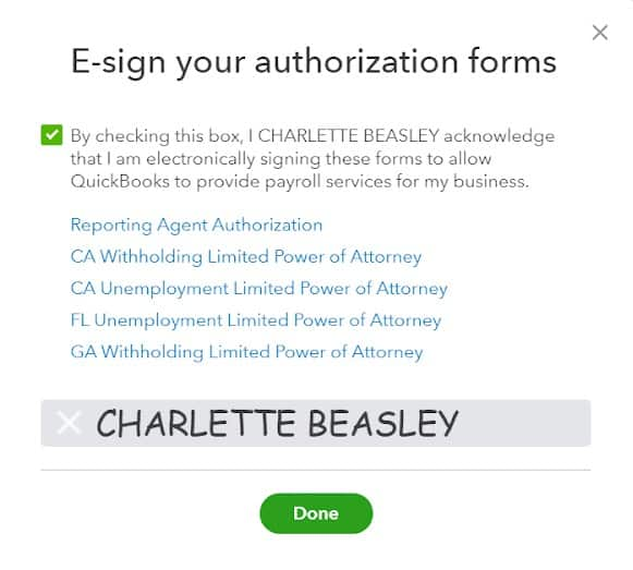 Screenshot of E-signing Authorization Forms on QuickBooks