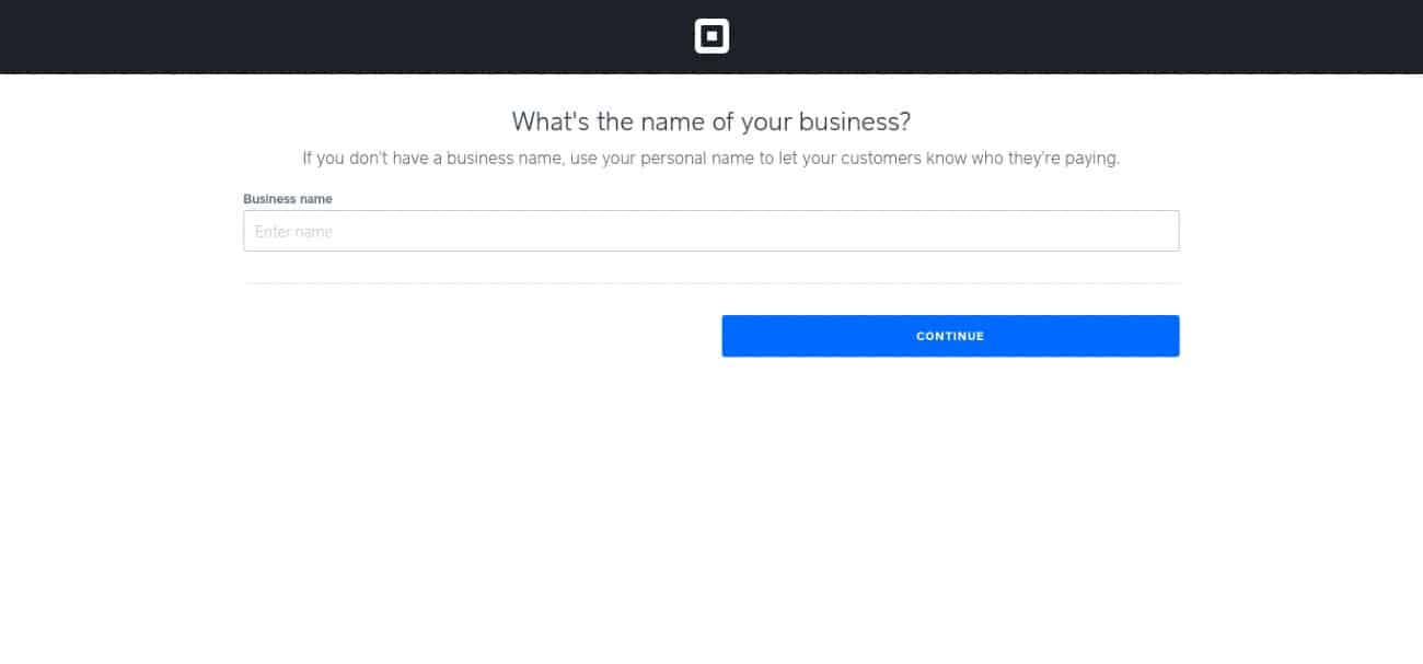 Screenshot of Entering Business or Personal Name