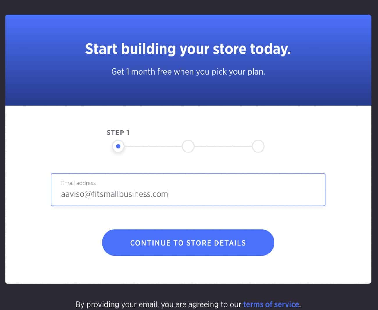 Screenshot of Entering Your Email on BigCommerce